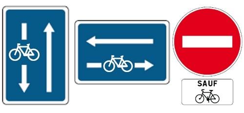 Señales para bicicletas en Francia