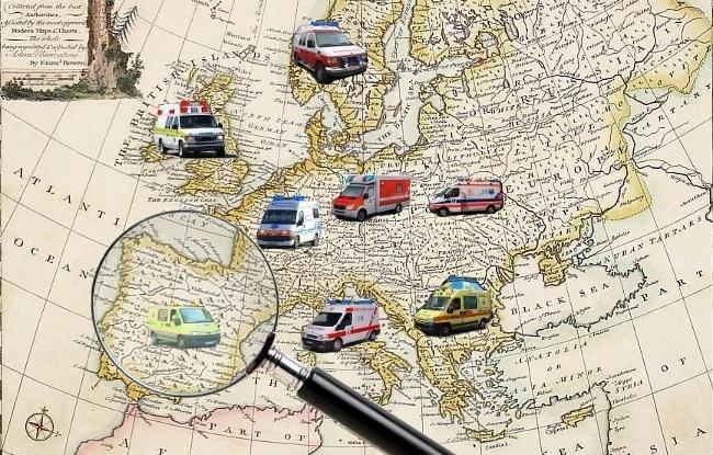 Ambulancias con rotativo azul o rojo en Europa