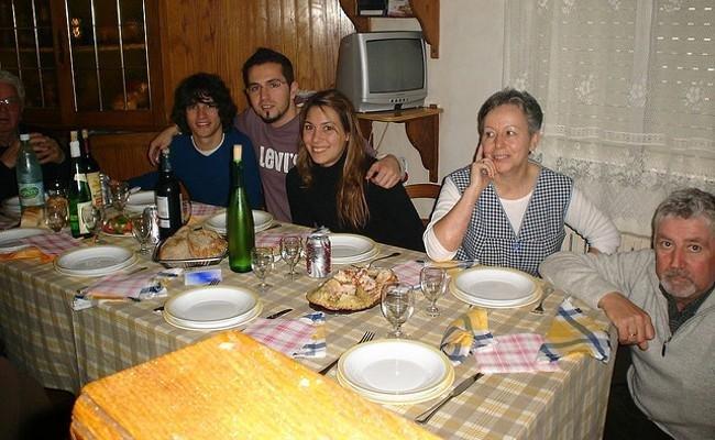 Comida familiar de Navidad