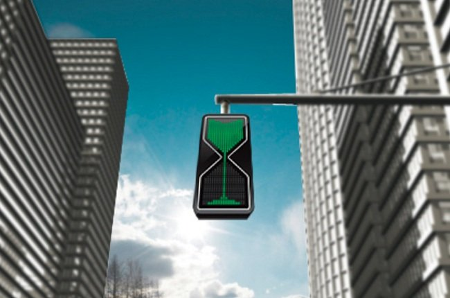 Semáforo con reloj de arena