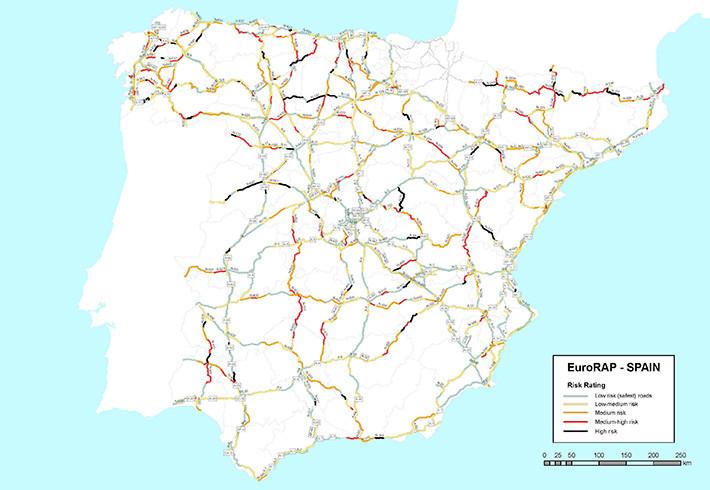 Las carreteras más peligrosas en España EuroRAP 2015