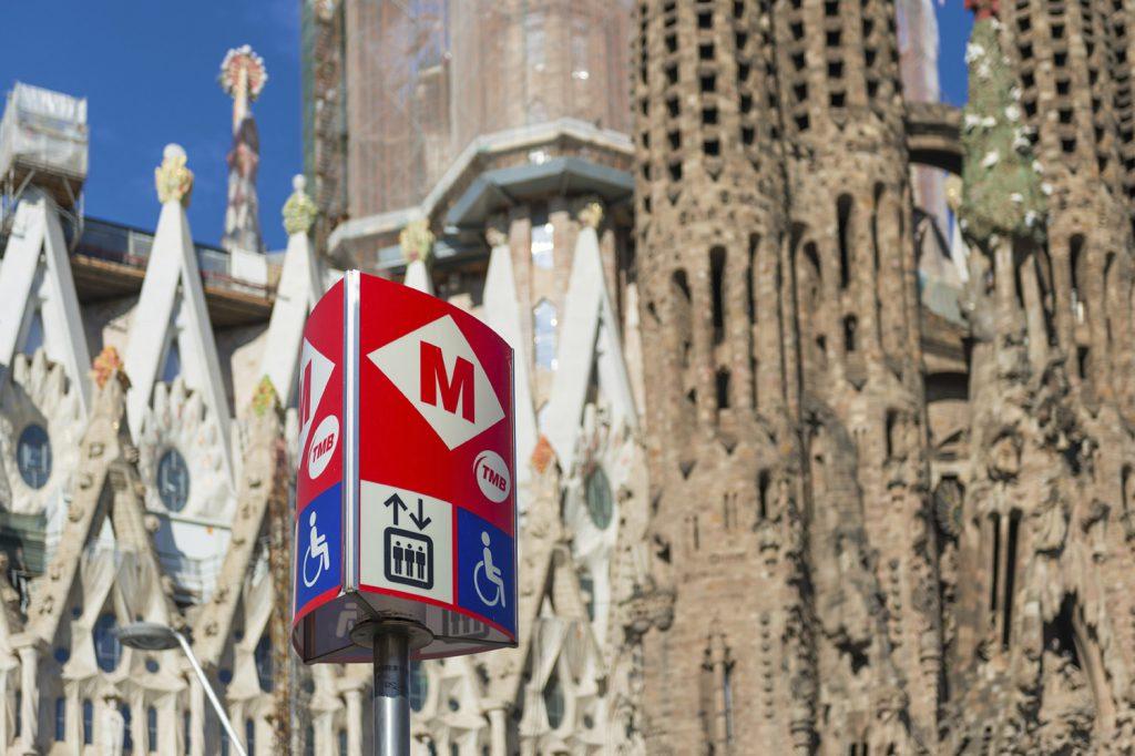 BARCELONA, SPAIN - JUNE 1, 2014: Metro sign. The Barcelona Metro