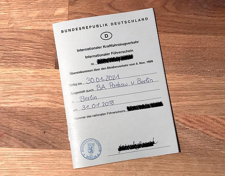 Permiso de conducir internacional expedido en Alemania