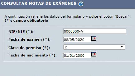 Resultado examen DGT