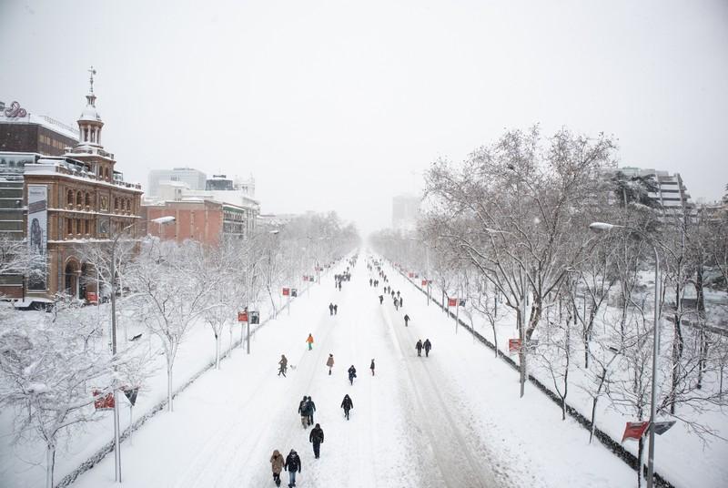 Paseo de la Castellana con nieve